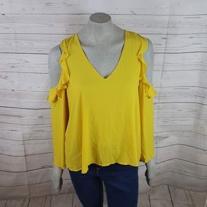 Lush Ruffle Top Cold Shoulder Yellow Bell Sleeves